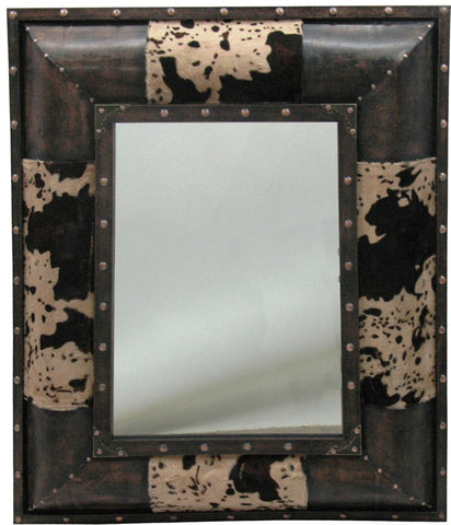 (HXMR3067) Caldwell Cowhide & Faux Leather Mirror