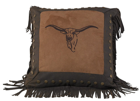 "(HXPL3118) ""Caldwell"" Cowhide Embroidered Steer Pillow"