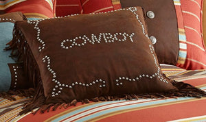"(HXPL3121) ""Calhoun"" Cowboy Studded Accent Pillow"