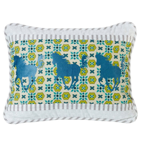"(HXQW1005P1) Western Horse Embroidery Pillow 16"" x 21"""