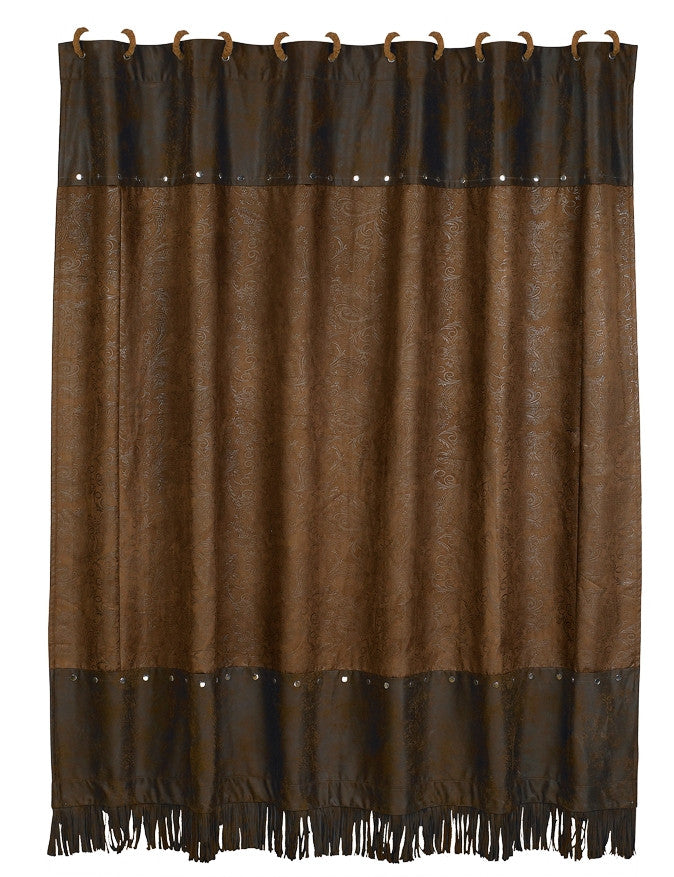 (HXSC1004) Western Faux Tooled Leather Shower Curtain