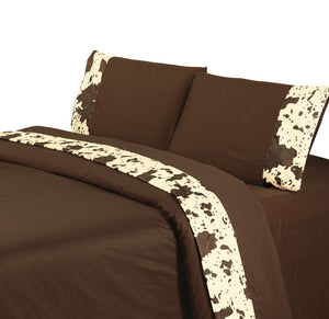 "(HXSW3067CH-Q) ""Cowhide Chocolate"" Western Sheet Set - Queen"