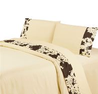 "(HXSW3067CR-Q) ""Cowhide Creme"" Western Sheet Set - Queen"