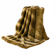 (HXTR4001WOLF) Faux Wolf Fur Throw