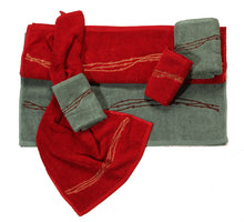 "Load image into Gallery viewer, (HXTW3190) ""Embroidered Barbwire"" Western 3-Pc. Towel Set"