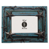 "(HXWD1016-46TQ) Western Turquoise Star & Barbwire Photo Frame 4"" x 6"""
