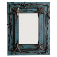 "(HXWD1016-80TQ) Western Turquoise Photo Frame with Stars and Barbwire 8"" x 10"""