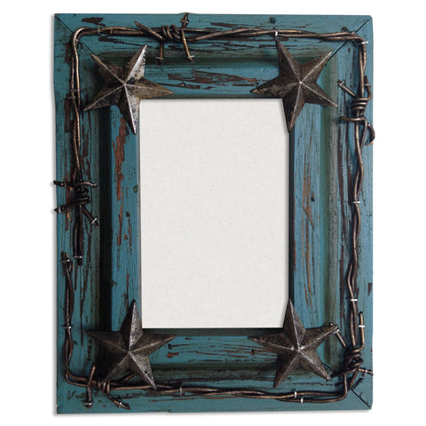 Hxwd1016 80tq Western Turquoise Photo Frame With Stars And Barbwire