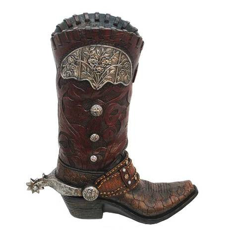 (HXWD7003) Western Brown Gator Boot Vase