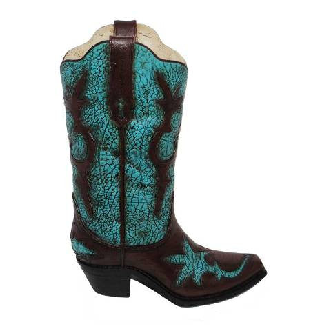 (HXWD7004) Western Turquoise Distressed Boot Vase
