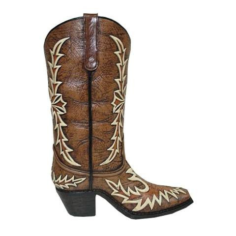 (HXWD7009) Western Flame Stitched Boot Vase