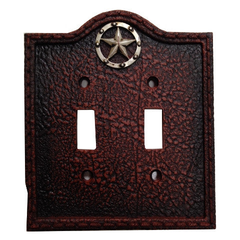 (HXWD8000-DS) Western Leather Grain & Star Double Switch Plate