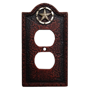 (HXWD8000-SO) Western Leather Grain & Star Single Outlet Plate