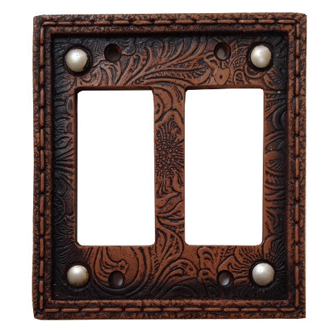 (HXWD8004-DR) Western Tooled  Resin Double Rocker Switch Plate with Studs