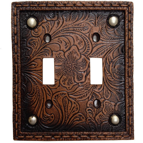 (HXWD8004-DS) Western Tooled  Resin Double Switch Plate with Studs