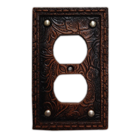 (HXWD8004-SO) Western Tooled  Resin Single Outlet Plate with Studs