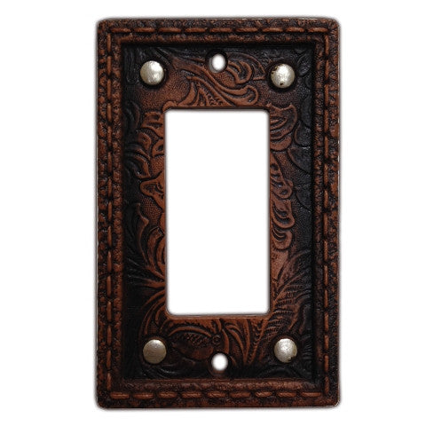 (HXWD8004-SR) Western Tooled  Resin Single Rocker Switch Plate with Studs