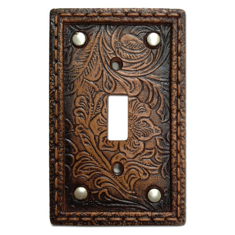 (HXWD8004-SS) Western Tooled  Resin Single Switch Plate with Studs