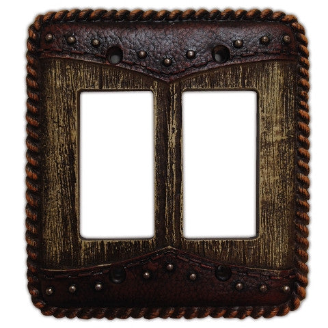(HXWD8006-DR) Western Woodgrain & Double Yoke Double Rocker Switch Plate