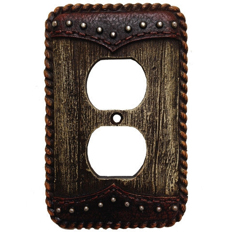 (HXWD8006-SO) Western Woodgrain & Double Yoke Single Outlet Plate