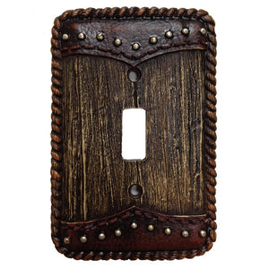 (HXWD8006-SS) Western Woodgrain & Double Yoke Single Switch Plate