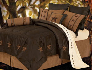 "(HXWS2018CHOC-SQ) ""Laredo Chocolate"" 6-Pc. Western Star Comforter Set Queen"