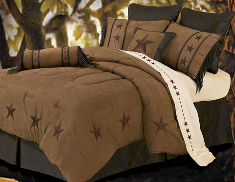 "(HXWS2018TAN-F) ""Laredo Tan"" 7-Pc. Western Star Comforter Set Full"
