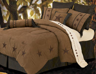 "(HXWS2018TANSK) ""Laredo Tan"" 6-Pc. Western Star Comforter Set Super King"