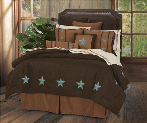 "(HXWS2018TQ-SK) ""Laredo Turquoise"" 7-Pc. Western Star Comforter Set Super King"