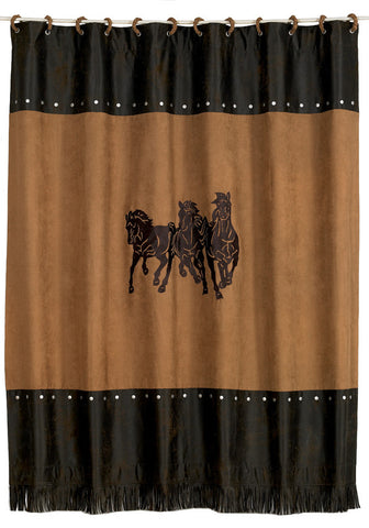 (HXWS3003SC) Western 3-Horses Shower Curtain