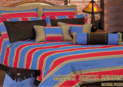 "(HXWS3079-SQ) 7-Pc Super Queen Luxury ""Blue Denim"" Western Comforter Set"