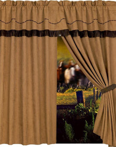 "(HXWS3182C) Western ""Embroidered Barbwire"" Curtain & Valance"