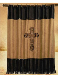 "(HXWS3182SC) ""Barbwire Cross"" Western Shower Curtain"