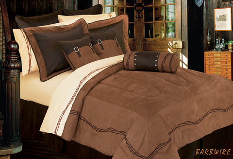 "(HXWS3190TN-T) ""Embroidery Barbwire Tan"" 5-Pc. Western Comforter Set Twin"