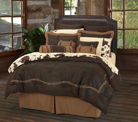 "(HXWS3190CH-SQ) ""Embroidery Barbwire Chocolate "" 7-Pc. Western Comforter Set Super Queen"