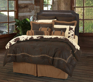 "(HXWS3290CH-F) ""Embroidery Barbwire  Chocolate""  7-Pc Western Comforter Set Full"