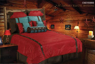 "(HXWS4001R-SK) ""Cheyenne Red"" Tooled Faux Leather 7-Pc. Comforter Set Super King"