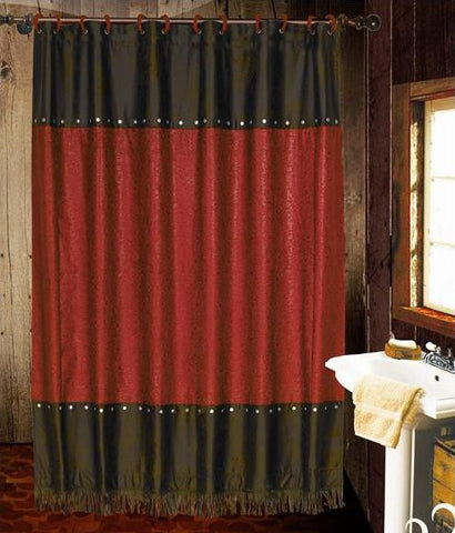 "(HXWS4001RSC) ""Cheyenne Red"" Faux Leather Shower Curtain"