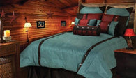 "(HXWS4001TQ-SK) ""Cheyenne Turquoise"" Tooled Faux Leather 7-Pc. Comforter Set Super King"