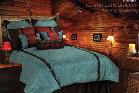 "(HXWS4001TQ-SQ) ""Cheyenne Turquoise"" Tooled Faux Leather 7-Pc. Comforter Set Queen"