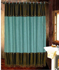 "(HXWS4001TQSC) ""Cheyenne Turquoise"" Faux Leather Shower Curtain"