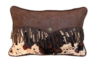 "(HXWS4002P3) ""Caldwell"" Cowhide Fringed Envelope Pillow"