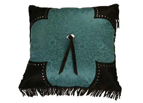 "(HXWS4001P5TQ) ""Calhoun"" Western Turquoise Fringed Accent Pillow"