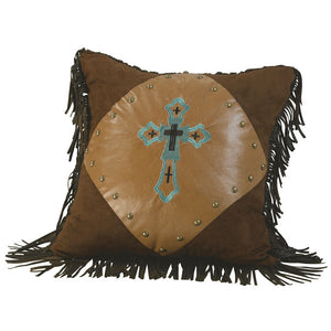 "(HXWS4183P1) ""Las Cruces"" Western Turquoise Embroidered Cross Pillow"