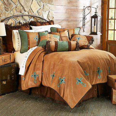 "(HXWS4183Q) ""Las Cruces"" Western Turquoise Cross Bedding Set - Queen"