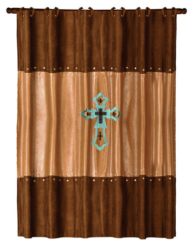 "(HXWS4182SC) ""Las Cruces"" Western Shower Curtain with Cross"