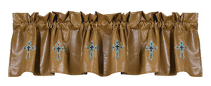 "(HXWS4182V1) ""LAS CRUCES"" Western Turquoise Cross Valance"