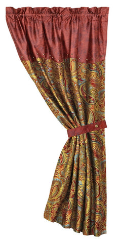 "(HXWS4287C) ""San Angelo"" Western Paisley Curtain Panel"
