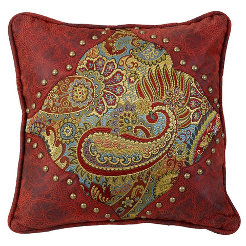 "(HXWS4287P1) ""San Angelo"" Western Paisley & Faux Leather Decorative Pillow"