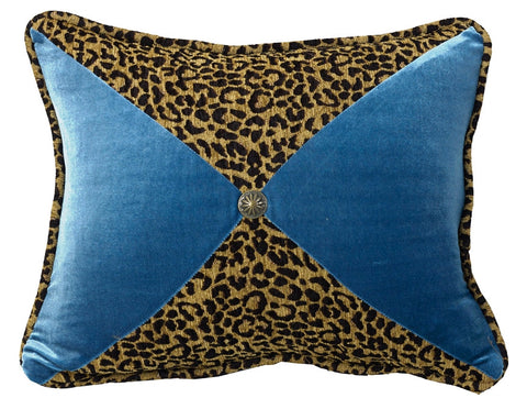 "(HXWS4287P8) ""San Angelo"" Western Leopard & Teal Decorative Pillow  16"" x 21"""